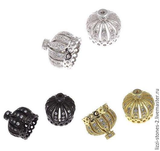 Бусина корона 13 мм золото, серебро и чернение (Milano) Евгения (Lizzi-stones-2)