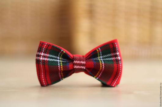 """Галстуки, бабочки ручной работы. Ярмарка Мастеров - ручная работа. Купить Бабочка красная """"шотландская клетка"""" детская/взрослая. Handmade."""