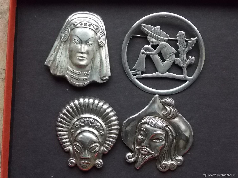 Винтажные украшения. Ярмарка Мастеров - ручная работа. Купить Винтаж: Комплект крупных портретных брошей серебро TRUART США до 1950 года. Handmade.