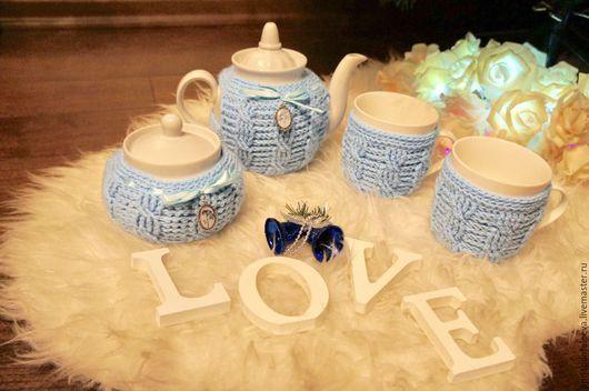 """Сервизы, чайные пары ручной работы. Ярмарка Мастеров - ручная работа. Купить Набор для чая в вязанных грелках """"Незабудки"""". Handmade."""