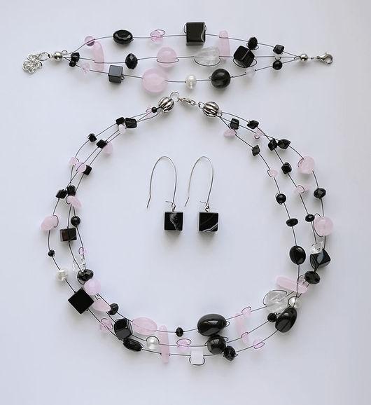 """Комплекты украшений ручной работы. Ярмарка Мастеров - ручная работа. Купить Колье """"Ночная сакура"""" с агатами и розовым кварцем. Handmade."""