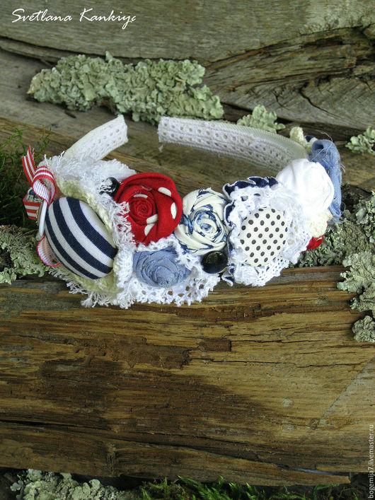 """Диадемы, обручи ручной работы. Ярмарка Мастеров - ручная работа. Купить Обруч-ободок для волос """"Вечер у моря"""" (белый). Handmade."""