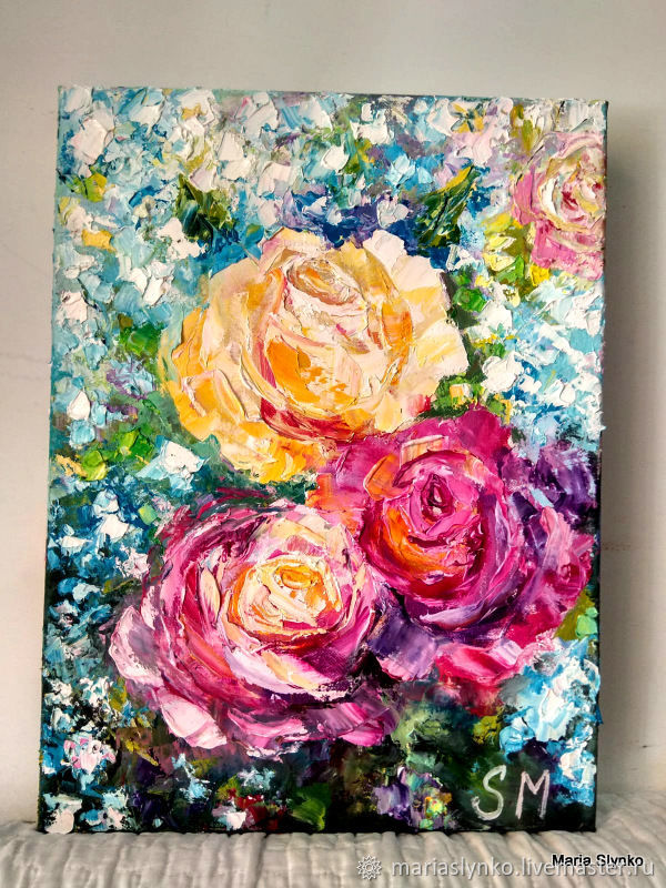 Oil painting. Roses. Garden flowers, Pictures, Alicante,  Фото №1