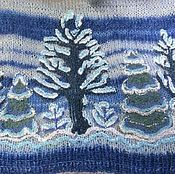 Подарки к праздникам ручной работы. Ярмарка Мастеров - ручная работа Зимний лес - вязаный жилет с вышивкой бисером. Handmade.