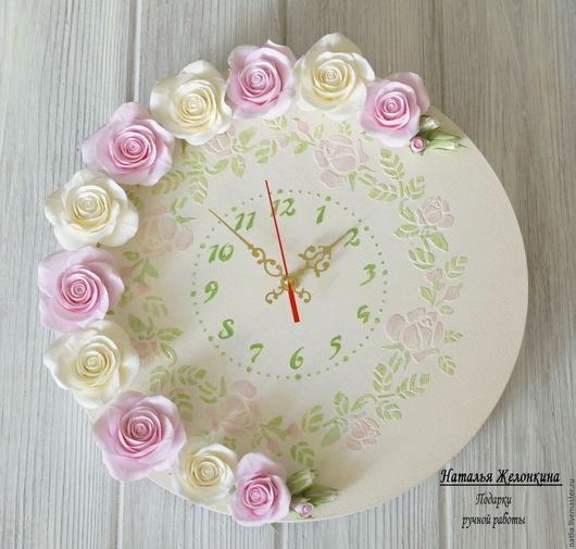 """Часы для дома ручной работы. Ярмарка Мастеров - ручная работа. Купить Часы """"Воздушный зефир"""". Handmade. Белый, кремовый"""
