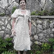 Сарафаны ручной работы. Ярмарка Мастеров - ручная работа Бохо-сарафан из вареного льна с шалью. Handmade.