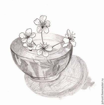 Картины цветов ручной работы. Ярмарка Мастеров - ручная работа Картина Майский пустячок, рисунок карандашом серый белый цветы вишни. Handmade.