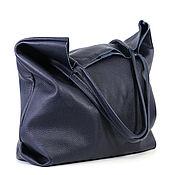 Сумки и аксессуары handmade. Livemaster - original item Blue soft Tote bag shopper Bag medium leather. Handmade.