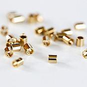 Материалы для творчества handmade. Livemaster - original item 1521_100_ Krimp 2 mm, Gold-plated crimp Metal beads crimp.. Handmade.