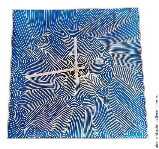 Часы для дома ручной работы. Ярмарка Мастеров - ручная работа. Купить Часы «Голубая лагуна». Handmade. Морская волна, роспись