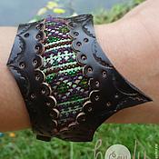 """Украшения ручной работы. Ярмарка Мастеров - ручная работа Темно-коричневый кожаный браслет """"Crazy Hmong"""". Handmade."""