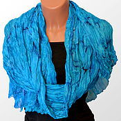 Аксессуары handmade. Livemaster - original item Stole silk batik Turquoise. Handmade.
