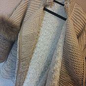 """Одежда ручной работы. Ярмарка Мастеров - ручная работа Полупальто вязанное"""" Бежевый меланж"""". Handmade."""