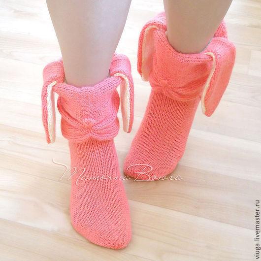 Купить Розовый заяц. Носки вязаные, шерстяные, домашняя ...