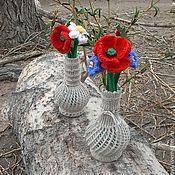 Цветы и флористика ручной работы. Ярмарка Мастеров - ручная работа Цветы. Вязаная интерьерная композиция с полевыми цветами из шерсти. Handmade.