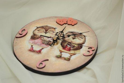 """Часы для дома ручной работы. Ярмарка Мастеров - ручная работа. Купить Часы """"Совушки"""". Handmade. Часы, милый, купить"""