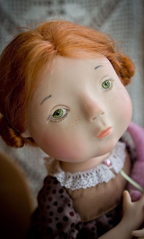 Коллекционные куклы ручной работы. Ярмарка Мастеров - ручная работа. Купить Девочка с розовым зайцем. Handmade. Брусничный, трессы