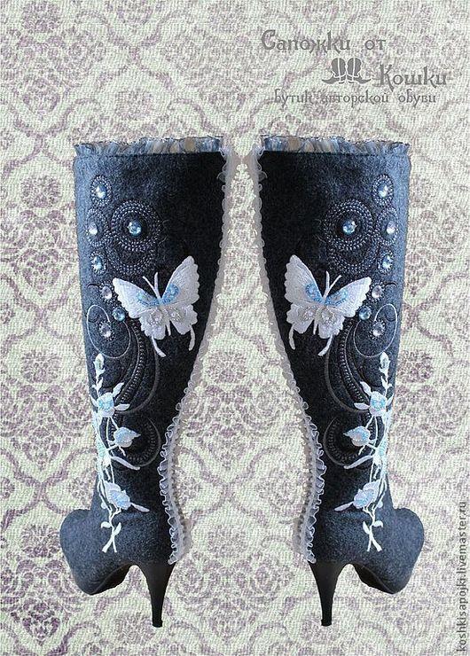 """Обувь ручной работы. Ярмарка Мастеров - ручная работа. Купить Валенки - Сапожки - """"Зимняя сказка"""". Handmade. Сапоги, дизайнерские украшения"""