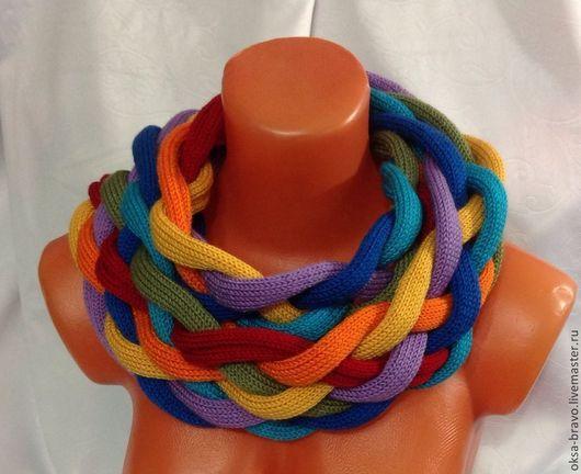 Шарфы и шарфики ручной работы. Ярмарка Мастеров - ручная работа. Купить РАДУГА Шарф-снуд. Handmade. Абстрактный, шарф вязаный