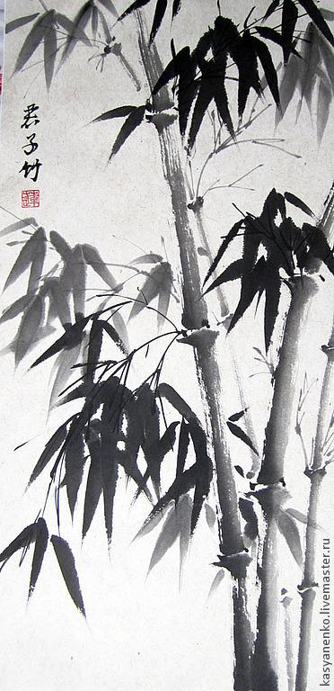 Символизм ручной работы. Ярмарка Мастеров - ручная работа. Купить Благородный бамбук. Картина 2. Handmade. Чёрно-белый