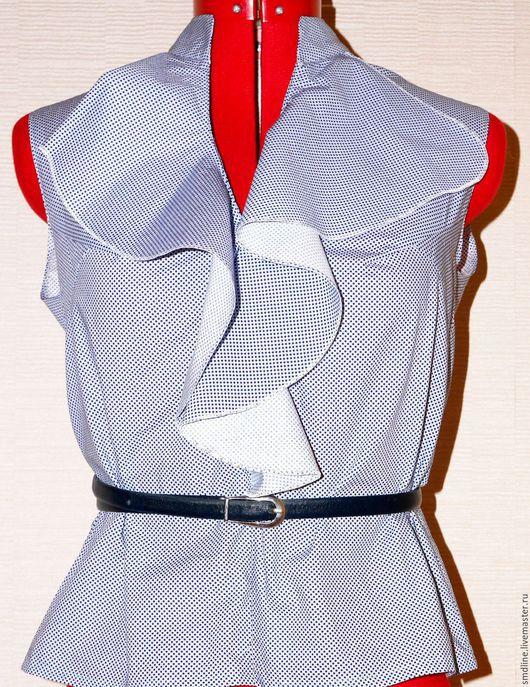 Блузки ручной работы. Ярмарка Мастеров - ручная работа. Купить Блузка из хлопка. Handmade. Синий, блузка без рукавов