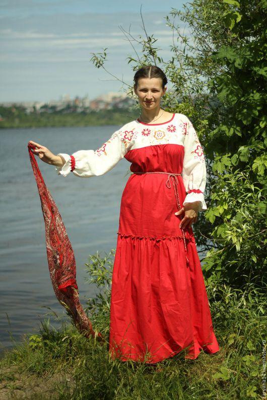 Платья ручной работы. Ярмарка Мастеров - ручная работа. Купить Платье розово-бордовое с вышивкой. Handmade. Бордовый, купала