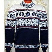 Одежда handmade. Livemaster - original item Norwegian sweater ornament knit White bear. Handmade.