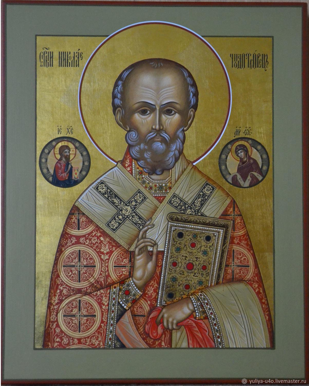 Икона: Николай Чудотворец, Иконы, Палех,  Фото №1