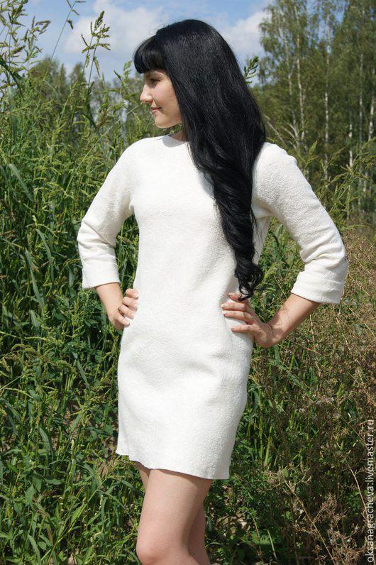 Платья ручной работы. Ярмарка Мастеров - ручная работа. Купить Войлочное белое платье.. Handmade. Белый, повседневное платье