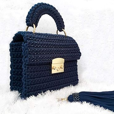 Сумки и аксессуары ручной работы. Ярмарка Мастеров - ручная работа Дизайнерская синяя сумка с бисером. Handmade.