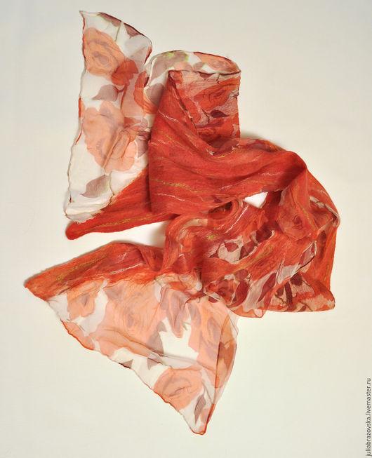 Шарфы и шарфики ручной работы. Ярмарка Мастеров - ручная работа. Купить Шарф валяный Розы. Шелковый,весенний,яркий,красный валяный шарфик.Бохо. Handmade.