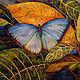 Картины цветов ручной работы. Ярмарка Мастеров - ручная работа. Купить Голубая бабочка.. Handmade. Зеленый, бабочка, картина в подарок