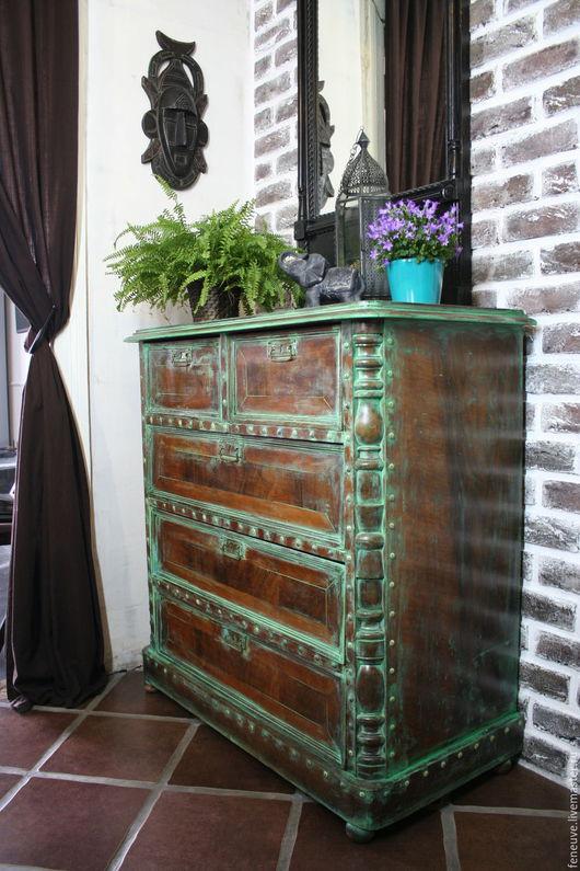 Мебель ручной работы. Ярмарка Мастеров - ручная работа. Купить Старинный комод. Handmade. Тёмно-бирюзовый, восточный стиль, интерьер