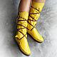 """Обувь ручной работы. Ярмарка Мастеров - ручная работа. Купить Позитивные кожаные мокасины """"Yellow Sun"""". Handmade. Желтый"""
