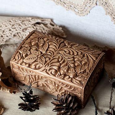 """Для дома и интерьера ручной работы. Ярмарка Мастеров - ручная работа """"Лесной орех"""" резная шкатулка (для колец) 14х9 см Резьба по дереву Эко. Handmade."""