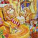 """Фантазийные сюжеты ручной работы. Заказать Картина акварелью """"Сказка про ежиков"""". Кокорина Надежда. Ярмарка Мастеров. Картина в подарок"""