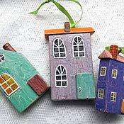 """Куклы и игрушки ручной работы. Ярмарка Мастеров - ручная работа Домики """" Улица в три дома"""" деревянные. Handmade."""
