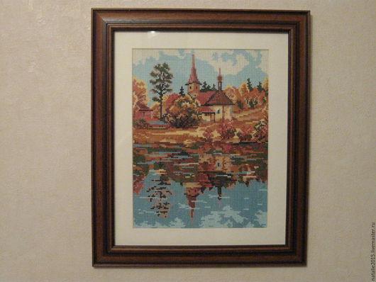 Пейзаж ручной работы. Ярмарка Мастеров - ручная работа. Купить Осень. Отражение. Handmade. Комбинированный, хлопок, Вышивка крестом