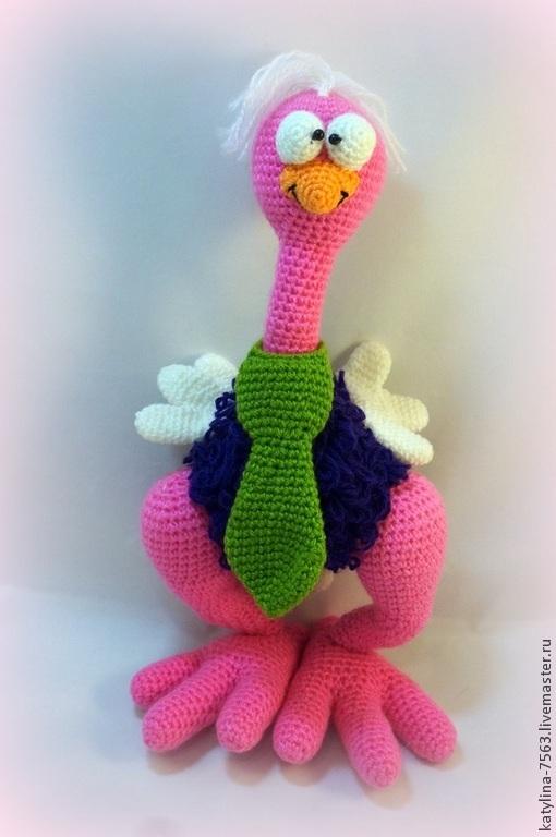Игрушки животные, ручной работы. Ярмарка Мастеров - ручная работа. Купить Забавный страус. Handmade. Розовый, игрушка, игрушки