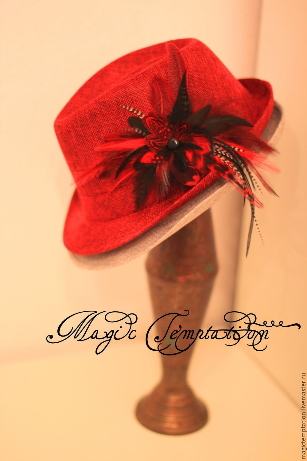 f5d7fdd29 Order Bright red and black hair clip brooch with feathers of pheasant, ...