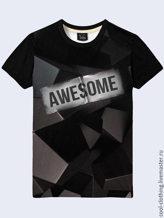 """Футболки, майки ручной работы. Ярмарка Мастеров - ручная работа. Купить Мужская футболка """"Awesome"""". Handmade. Рисунок, футболка, майка"""