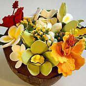 Цветы и флористика handmade. Livemaster - original item The composition of the Tropical extravaganza. Flowers from polymer clay.. Handmade.
