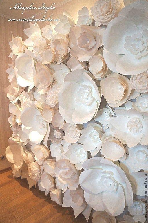 Свадебные цветы ручной работы. Ярмарка Мастеров - ручная работа. Купить Декор из бумажных цветов. Handmade. Белый, свадьба 2013