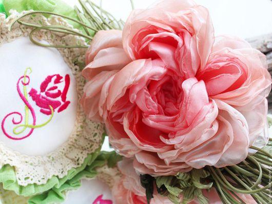 Броши ручной работы. Ярмарка Мастеров - ручная работа. Купить Брошь-заколка пион из розовой вуали. Цветы из ткани.. Handmade.