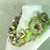 Украшения handmade. Livemaster - original item Waltz Of The Olive Groves. A necklace, a brooch with the colors of the fabrics. Handmade.