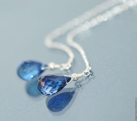 серьги с синим камнем; синие серьги; купить серьги синие; серьги серебро 925 пробы купить; серьги цепочки купить; серьги из серебра синие; серьги синие длинные; подарок любимой девушке; подарок жене