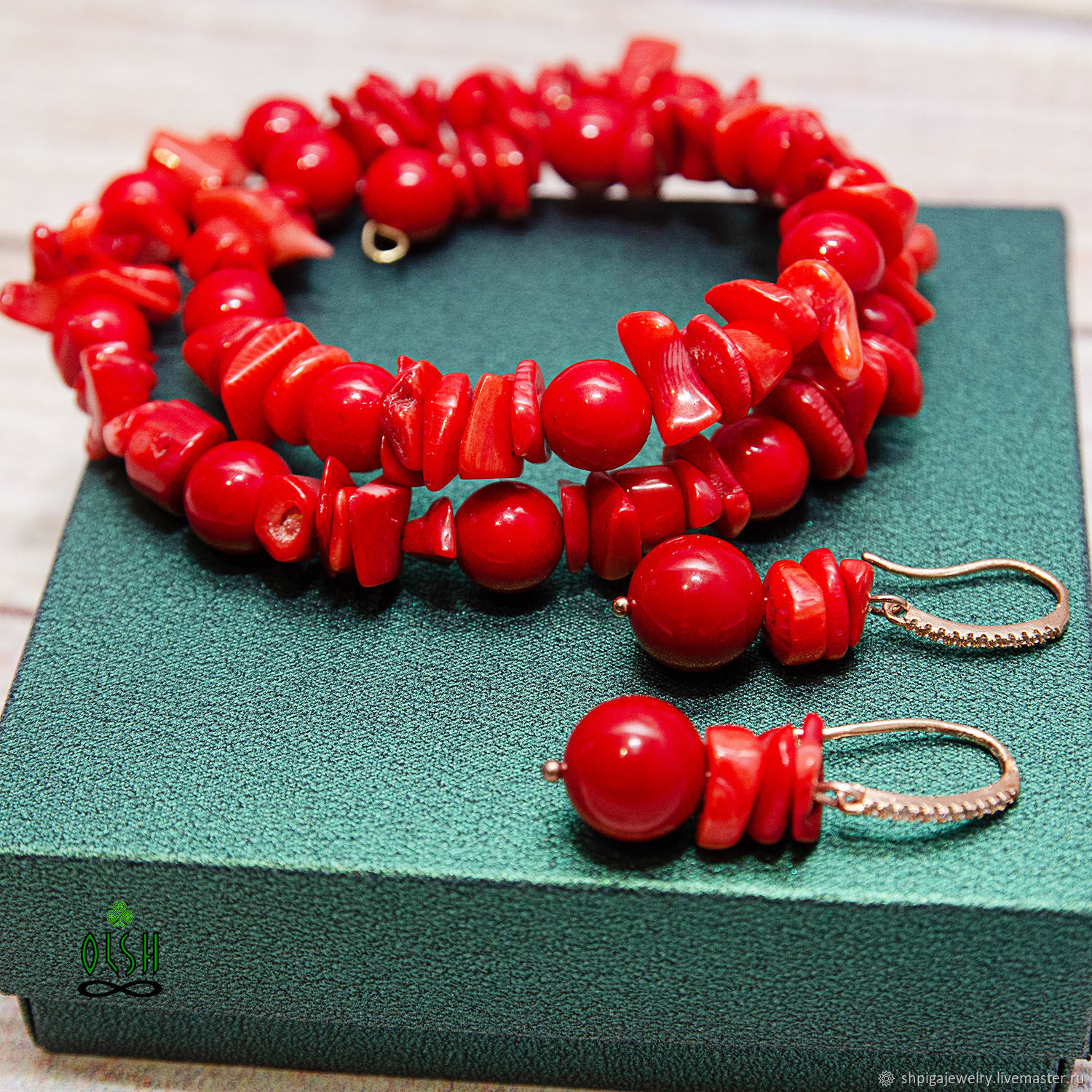 Bracelet and earrings made of natural red coral Beguin, Jewelry Sets, Budennovsk, Фото №1