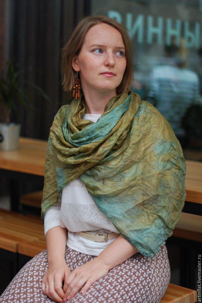 Scarf silk 'Herbal' Indigo green boho, Scarves, Moscow,  Фото №1
