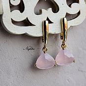 Украшения ручной работы. Ярмарка Мастеров - ручная работа Серьги с кристаллами позолоченные, серьги розовые,опалловые кристаллы. Handmade.