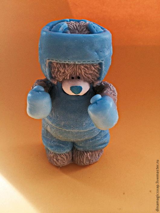 """Мыло ручной работы. Ярмарка Мастеров - ручная работа. Купить сувенирное мыло 3d """"Мишка боксер"""". Handmade. Синий"""